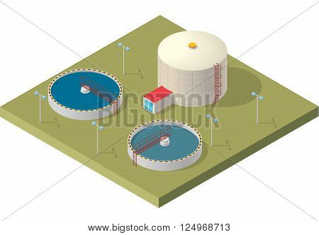 Water treatment isometric building info graphic, big bacterium purifier factory on white background. Scientific illustration. Pictogram industrial chemistry cleaner set. Flatten isolated master vector.
