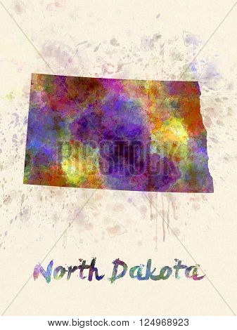 North Dakota Us State In Watercolor