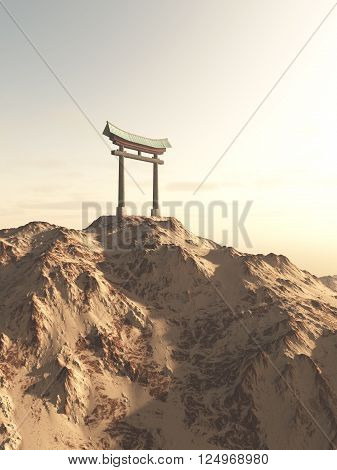 Fantasy illustration of a Japanese Torii Gate on top of a lonely mountain, marking the entrance to a Shinto Shrine or sacred space, 3d digitally rendered illustration