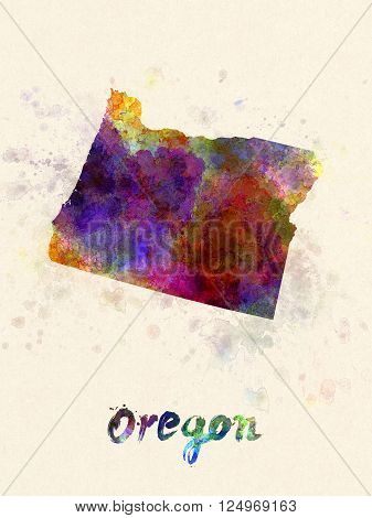Oregon Us State In Watercolor