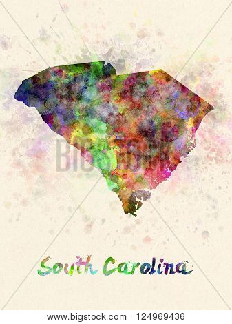 South Carolina US state poster in watercolor background