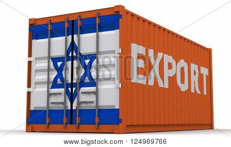 Export of Israel. Freight container on a white surface with inscription