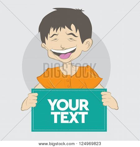 laughing boy hold a paper vector illustration