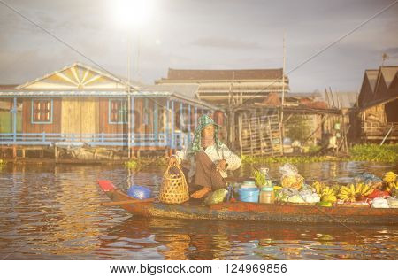 Local Cambodian Seller In Floating Market Concept