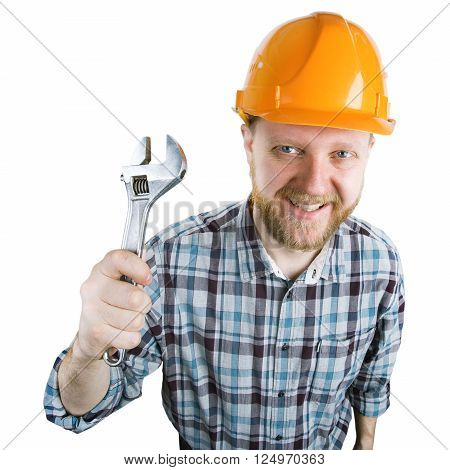 Man with a wrench in an orange helmet