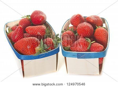 strawberries in punnet in front of white background