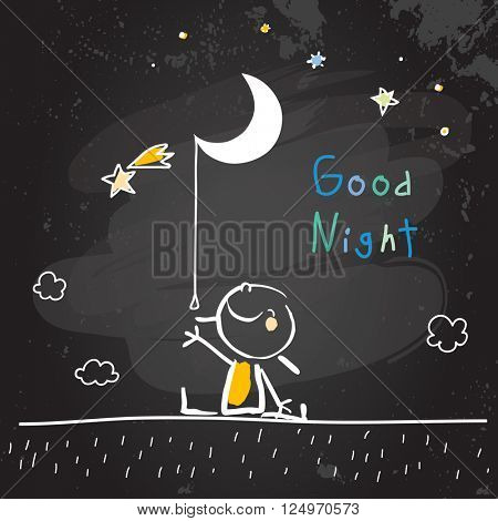 Good night vector illustration, kid with moon, stars. Chalk on blackboard doodle, hand drawn scribble.