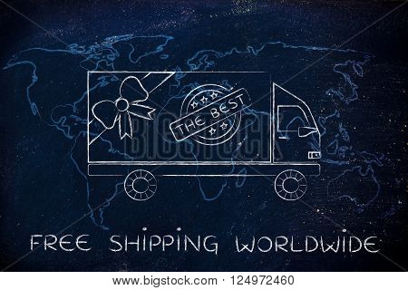 Delivery Truck With Map Background, Free Shipping Worldwide