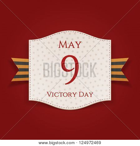 Victory Day 9th May greeting Card with st. George Ribbon. Vector Illustration