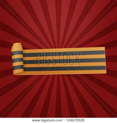 Victory Day Symbol. Saint George festive scroll Ribbon. Vector Illustration