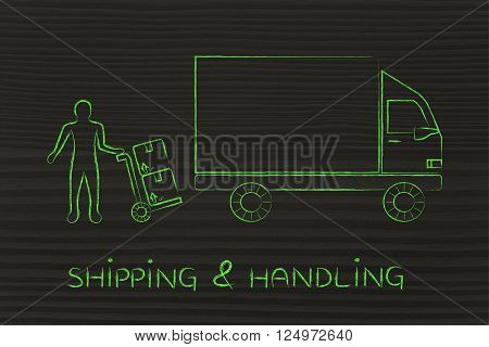 shipping & handling: delivery company truck vehicle and employee loading it with parcels