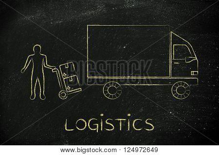 Delivery Company Vehicle & Man With Parcels, Logistics