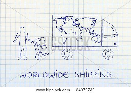 Delivery Truck With World Map & Man With Parcels, Worldwide Shipping