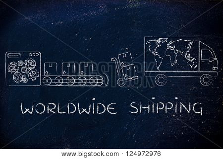 Factory, Parcels & Truck With World Map; Worldwide Shipping
