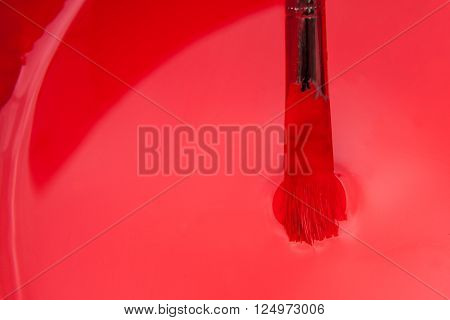brush with red color in a bowl