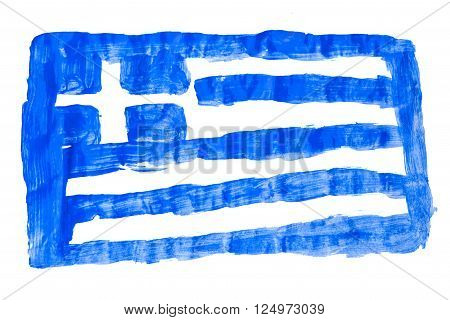 the greek flag painted on white paper