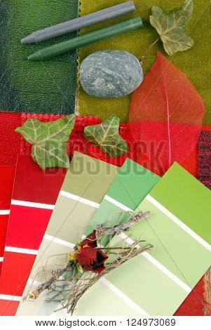 color harmonisation for interior in red and green color