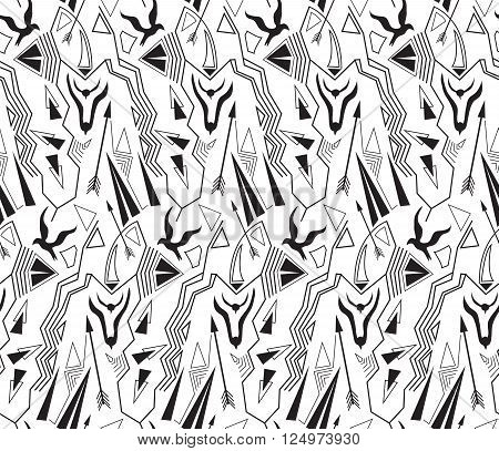 Vector ethnic seamless pattern with american indian traditional ornament in black and white colors. Tribal background. Aztec design for fabric. Print of native american art.