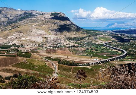 S-Curve Highway Overpass in the valley near Segesta Sicily Italy