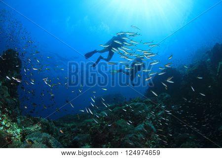 Scuba diving on oceanic coral reef underwater