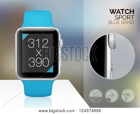 Smart watch on blured background. Vector illustration
