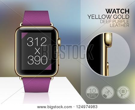 Smart watch isolated on blured background. Vector illustration