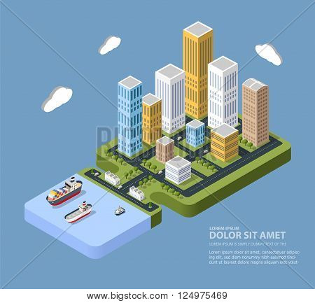 Flat isometric city. Urban neighborhoods skyscrapers homes and streets in an isometric view.