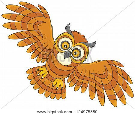 Vector illustration of a brown owl hovering, on a white background