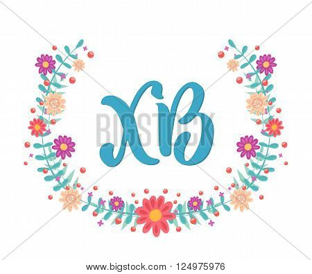 Russian easter greeting card. Abbreviation translated as Christ is risen. Floral wreath on white background.