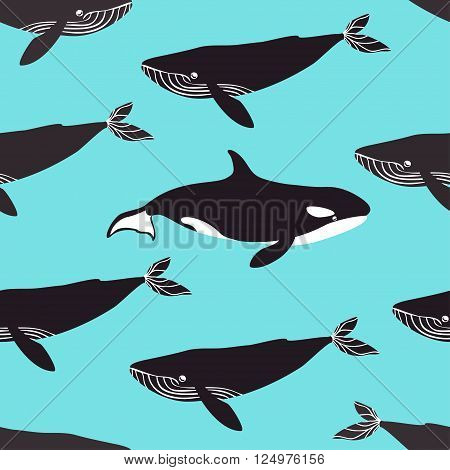 Seamless pattern with blue whales and killer whales. Vector illustration.