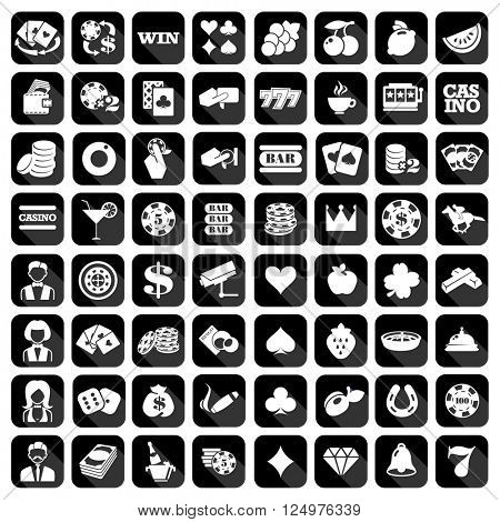 The big set of flat monochrome casino icons. Slot machine or slots signes