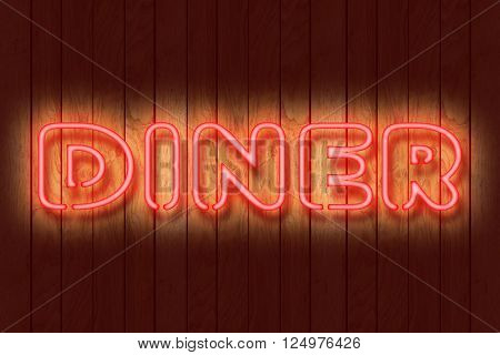 Illustration of a neon DINER sign against a dark wooden wall