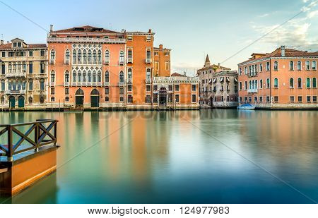 Grand Canal scenery in antique Venice Italy
