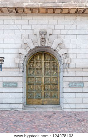 PORT ELIZABETH SOUTH AFRICA - FEBRUARY 27 2016: The entrance door of the historic building of the South African Reserve Bank in Port Elizabeth