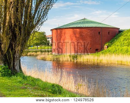Malmohus Castle and the channel round fortress Malmo Sweden
