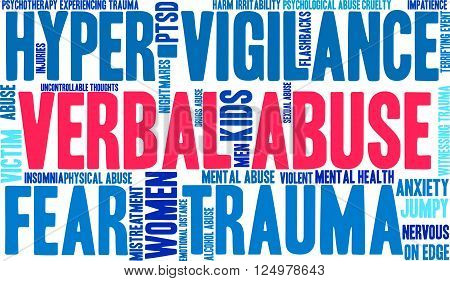 Verbal Abuse word cloud on a white background.