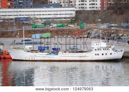 Stockholm, Sweden - March, 16, 2016: cargo ship in Stockholm, Sweden