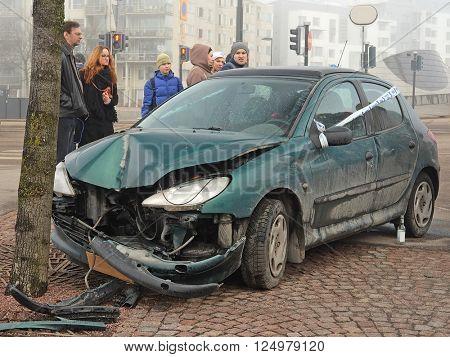 Helsinki, Finland - April, 4, 2016: crashed car in Helsinki, Finland