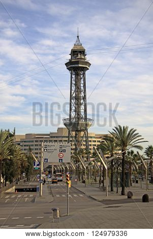 Barcelona, Catalonia, Spain - December 13, 2011: Torre Jaume I - The Ropeway Tower That Connects The