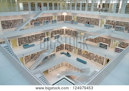 Stuttargt, Germany - May 21, 2015: Inside Stuttgart Public Library. The Stuttgart Public Library opened in October 2011 and placed at Mailänder Platz was designed by Yi Architects and has more than 500000 books.