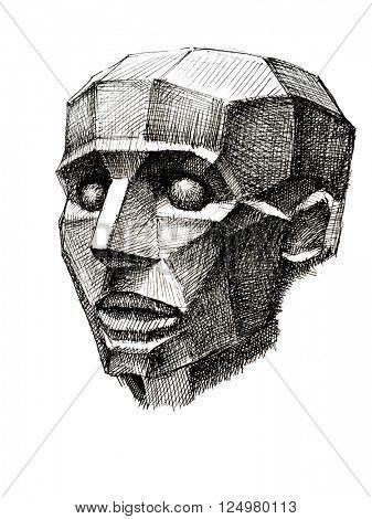Hand drawn sketch. Male head