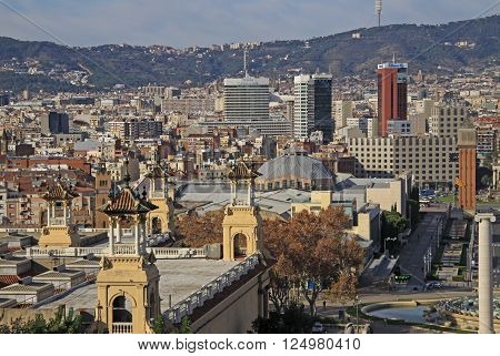 Barcelona, Catalonia, Spain - December 13, 2011: City View From National Museum Of Art (mnac) In Bar