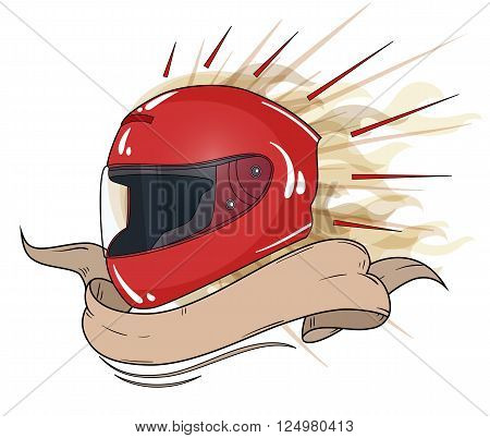 moto helmet integral with text ribbon. vector illustration