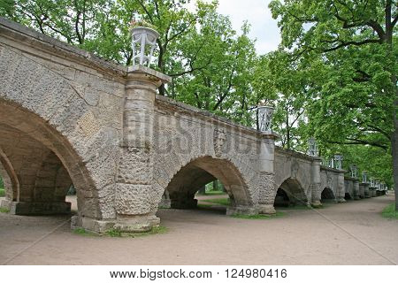 St. Petersburg, Tsarskoye Selo, Russia - June 26, 2008: The Cameron Gallery Grottoes In The Catherin