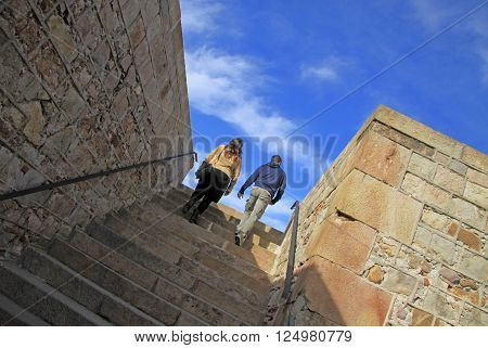 BARCELONA CATALONIA SPAIN - DECEMBER 14 2011: Stairs to the top of Montjuic Castle Barcelona Catalonia Spain