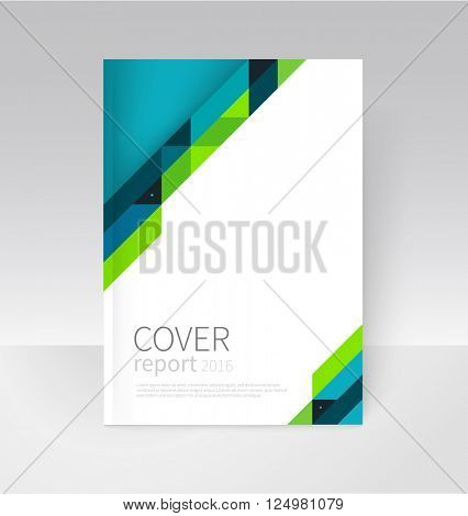 Cover design. Brochure, flyer, annual report cover template. a4 size. modern Geometric Abstract background. blue and green diagonal lines. vector-stock illustration EPS 10