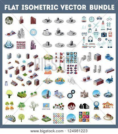 Big bundle set of design templates design elements isometric objects buildings