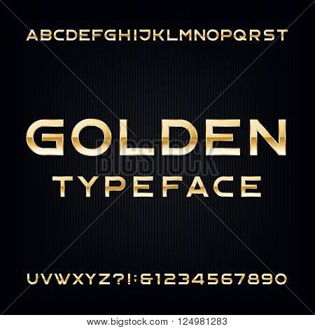 Golden Alphabet Vector Font. Modern metallic letters and numbers on the dark background. Stock vector typeface for your design.