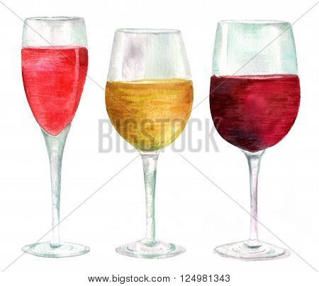Three watercolor wine glasses (with sparkling rose wine white and red wine) hand drawn in a retro style on white background