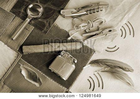 man retro vintage accessory concept in sepia color